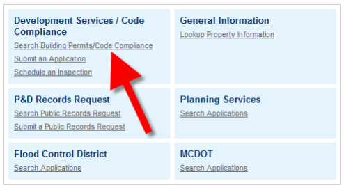 Accela Link Location for Search Building Permits/Code Compliance